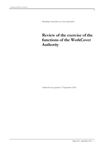 Final Report - Review of the exercise of the functions of the WorkCover Authority - 17 September 2014 1st page small