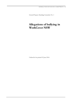 Page 1 from GPSC No 1 - Report 40 - Allegations of bullying in WorkCover NSW small