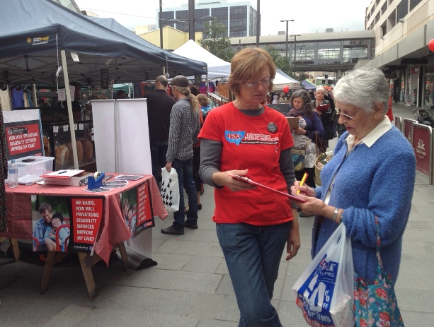 Collecting signatures in Wollongong on 8 August to protest against the privatisation of ADHC medium