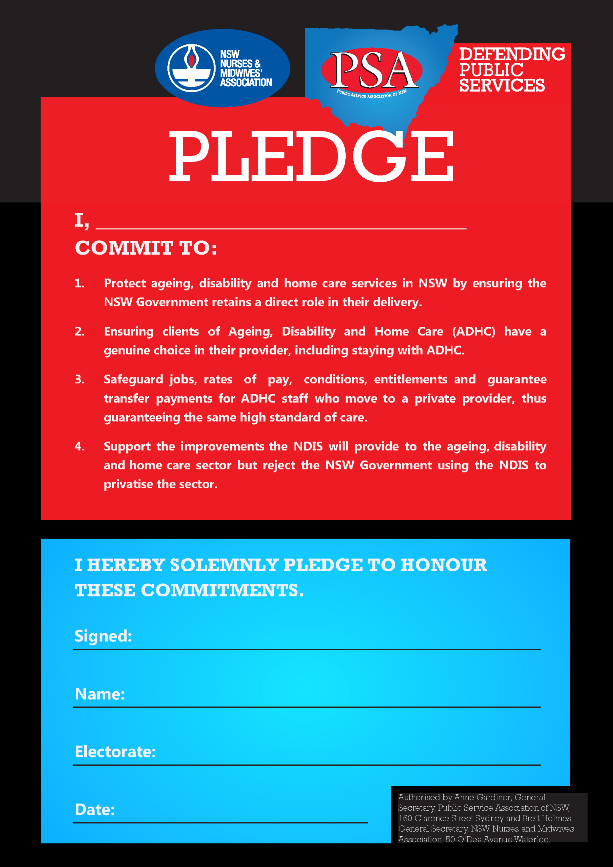 Candidates Pledge NSWNMA-PSA medium