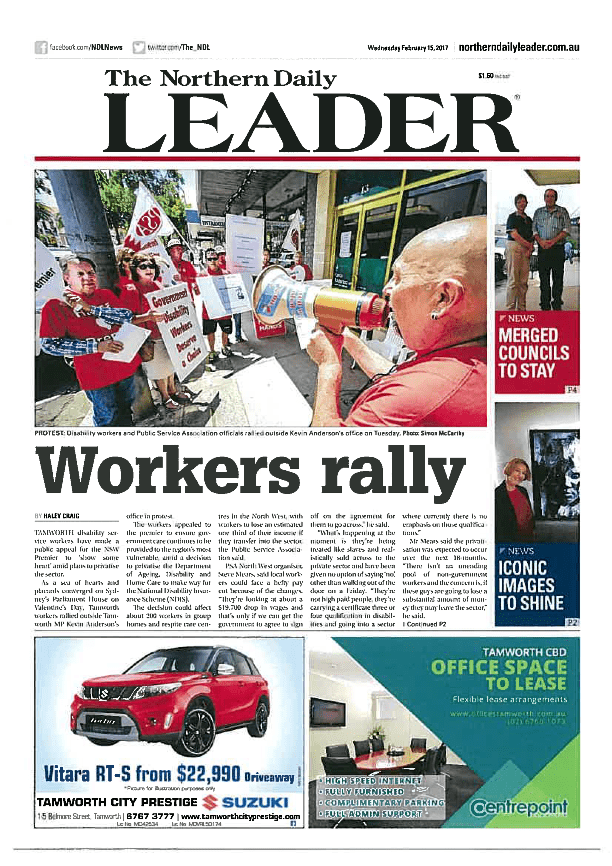 Strike front page Northern Daily Leader (2)_Page_1 small