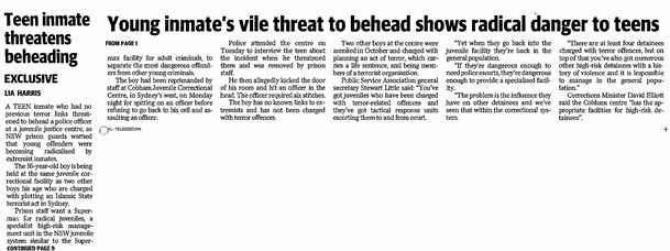 Teen inmate threatens beheading - The Sunday Telegraph - February 19 2017 small