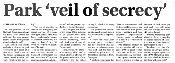 Park 'veil of secrecy' - Bega News 11 July 2017 small