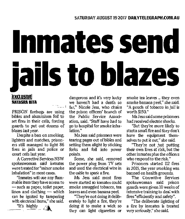 Inmates send jails to blazes - The Daily Tele 19 August 2017small