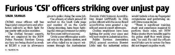 Furious CSI officers striking over unjust pay - Sunday Telegraph - May 29 2017pngsmall