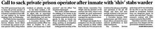 Call to sack private prison operator after inmate with 'shiv' stabs warder - The Australian 29 September 2017