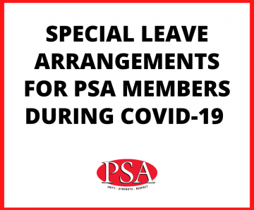 SPECIAL LEAVE FOR PSA MEMBERS DURING COVID-19